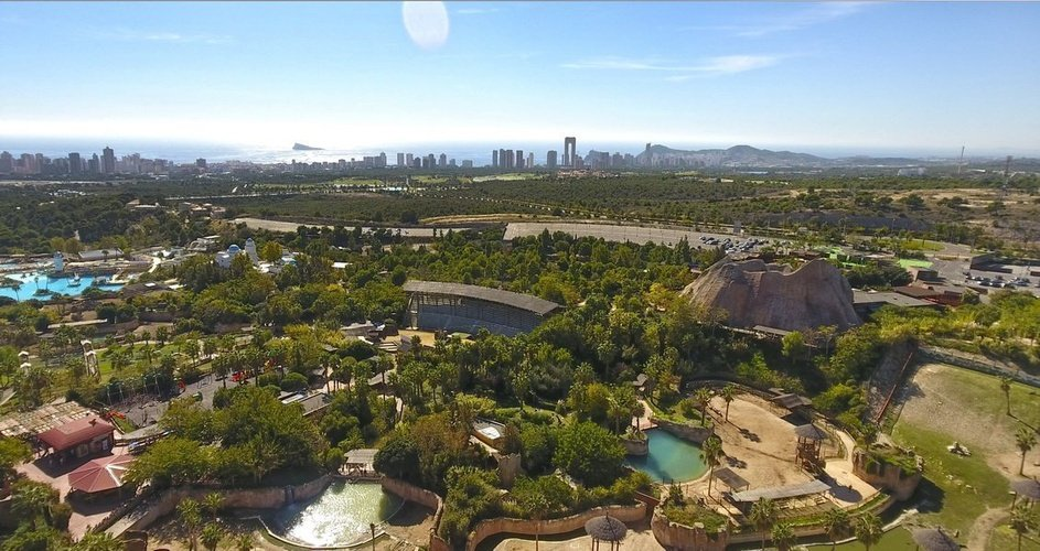 Aerial views of the resort magic natura animal, waterpark resort benidorm